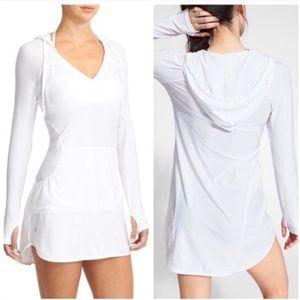 Athleta white long sleeve hooded beach cover up